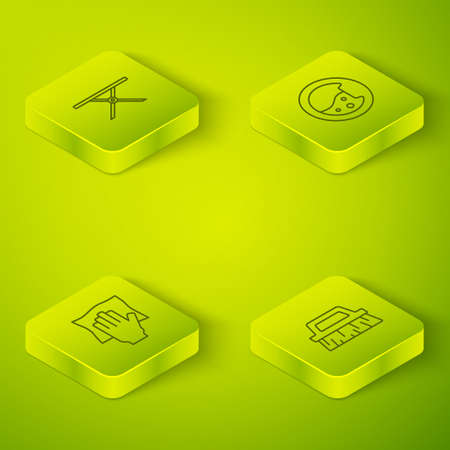 Set Isometric line Washer, Cleaning service, Brush for cleaning and Ironing board icon. Vector