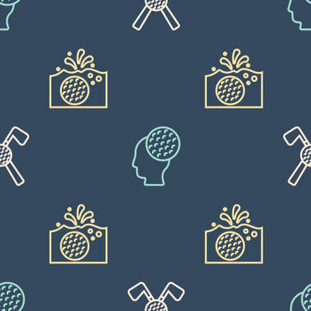 Set line Crossed golf club with ball, Golf in water and on seamless pattern. Vector