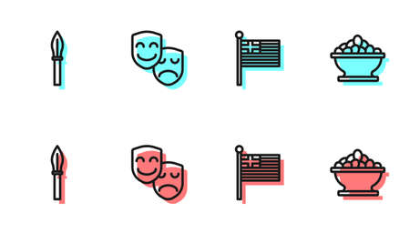 Set line Greece national flag, Medieval spear, Comedy and tragedy masks and Olives in bowl icon. Vector