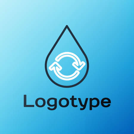 Line Recycle clean aqua icon isolated on blue background. Drop of water with sign recycling. Colorful outline concept. Vector Illustration