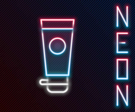 Glowing neon line Cream or lotion cosmetic tube icon isolated on black background. Body care products for men. Colorful outline concept. Vector Illustration