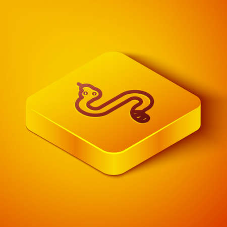 Isometric line Snake icon isolated on orange background. Yellow square button. Vector