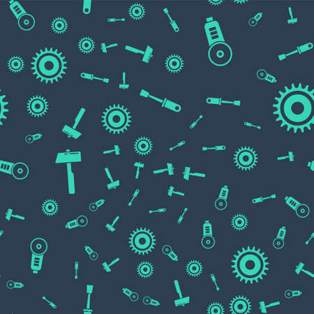Set Screwdriver, Angle grinder, Hammer and Circular saw blade on seamless pattern. Vector