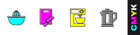 Set Citrus fruit juicer, Cutting board and knife, Electric mixer and kettle icon. Vector