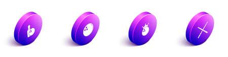 Set Isometric Bowling pin and ball, and Crossed billiard cues icon. Vector