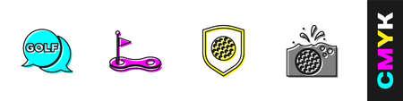 Set Golf label, hole with flag, ball shield   icon. Vector Ilustração