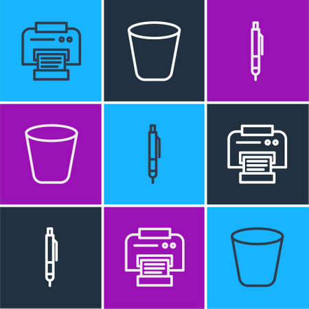 Set line Printer, Pen and Trash can icon. Vector