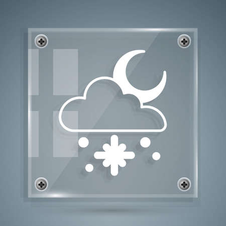White Cloud with snow and moon icon isolated on grey background. Cloud with snowflakes. Single weather icon. Snowing sign. Square glass panels. Vector