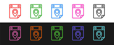 Set line Travel planning calendar icon isolated on black and white background. A planned holiday trip. Vector