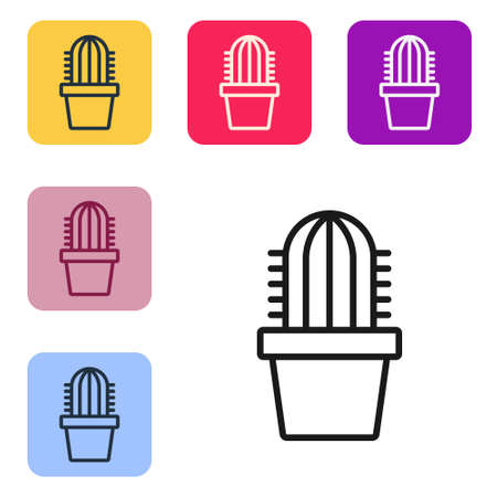 Black line Cactus peyote in pot icon isolated on white background. Plant growing in a pot. Potted plant sign. Set icons in color square buttons. Vector Ilustração
