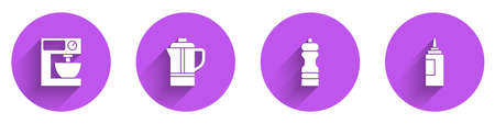 Set Electric mixer, Teapot, Pepper and Sauce bottle icon with long shadow. Vector