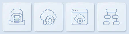 Set line Hangar with servers, Failed access cloud storage, Cloud technology data transfer and Hierarchy organogram chart. White square button. Vector