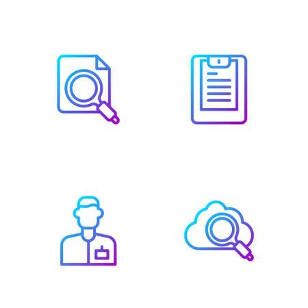 Set line Search cloud computing, Analyst engineer, concept with folder and Server, Data report. Gradient color icons. Vector Vektoros illusztráció