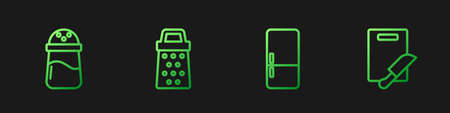 Set line Refrigerator, Salt, Grater and Cutting board and knife. Gradient color icons. Vector