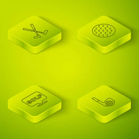 Set Isometric line Golf ball, label, club with and Crossed golf icon. Vector Stockfoto - 168156820