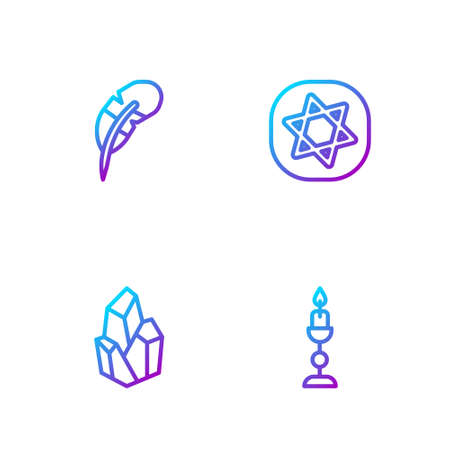 Set line Burning candle, Magic stone, Feather pen and Tarot cards. Gradient color icons. Vector