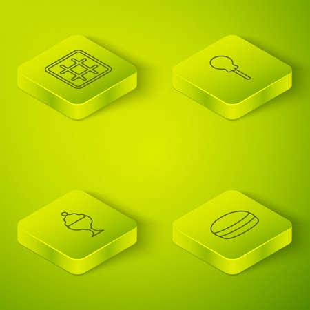 Set Isometric line Lollipop, Ice cream in bowl, Macaron cookie and Waffle icon. Vector Stockfoto - 168156465