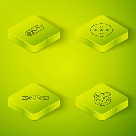 Set Isometric line Cookie or biscuit, Candy, and Chocolate roll cake icon. Vector Stockfoto - 168124816