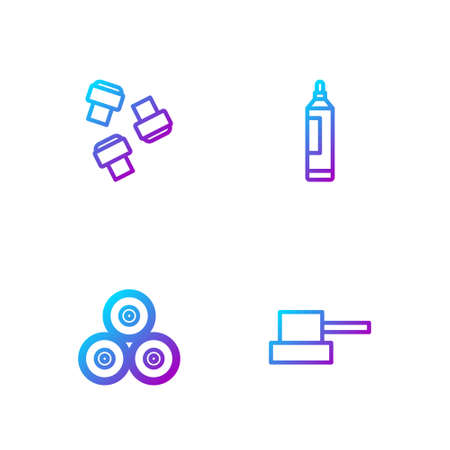 Set line Spray can nozzle cap, Paint spray, Marker pen attachment and . Gradient color icons. Vector Vektoros illusztráció