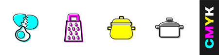 Set Broken egg, Grater, Cooking pot icon. Vector