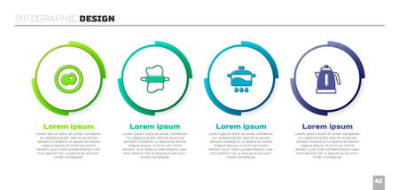 Set Scrambled eggs, Rolling pin on dough, Cooking pot and Electric kettle. Business infographic template. Vector