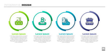 Set Deforestation, Petrol gas, Wastewater and Coal train wagon. Business infographic template. Vector