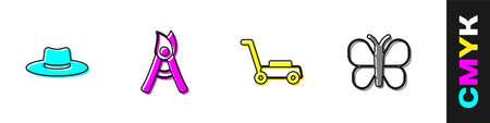 Set Gardener worker hat, Gardening handmade scissors, Lawn mower and Butterfly icon. Vector