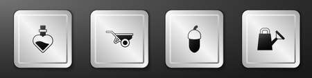 Set Bottle with love potion, Wheelbarrow dirt, Acorn and Watering can icon. Silver square button. Vector