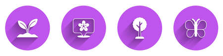 Set Sprout, Location with flower, Forest and Butterfly icon with long shadow. Vector