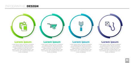 Set Garden sprayer for fertilizer, Wheelbarrow with dirt, rake and Kite. Business infographic template. Vector Vettoriali