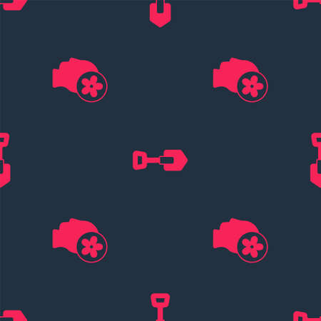 Set Human head with flower inside and Shovel on seamless pattern. Vector