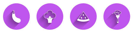 Set Eggplant, Broccoli, Watermelon and Vegan food diet icon with long shadow. Vector
