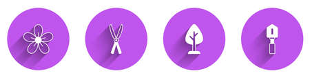 Set Flower, Gardening handmade scissors, Forest and Shovel icon with long shadow. Vector