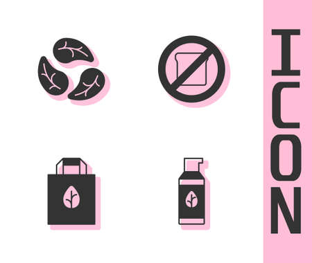 Set Organic cosmetic, Leaf or leaves, Shopping bag with recycle and Gluten free grain icon. Vector Vettoriali