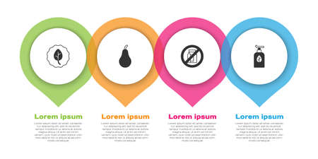 Set Leaf or leaves, Pear, No pack of milk and Organic cosmetic. Business infographic template. Vector