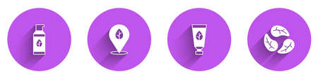 Set Organic cosmetic, Vegan food diet, and Leaf or leaves icon with long shadow. Vector Vettoriali
