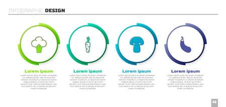 Set Broccoli, Carrot, Mushroom and Eggplant. Business infographic template. Vector