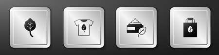 Set Leaf or leaves, Vegan shirt, Organic cosmetic and Shopping bag with recycle icon. Silver square button. Vector