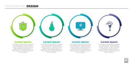 Set Vegan food diet, Pear. Business infographic template. Vector