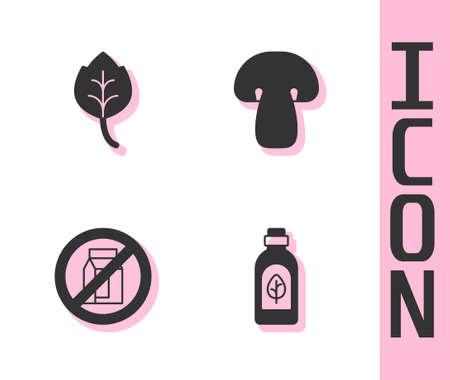Set Essential oil bottle, Leaf or leaves, No pack of milk and Mushroom icon. Vector
