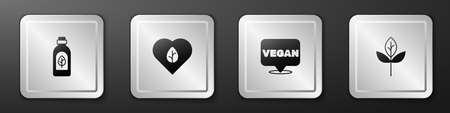Set Essential oil bottle, Vegan food diet, and Leaf or leaves icon. Silver square button. Vector