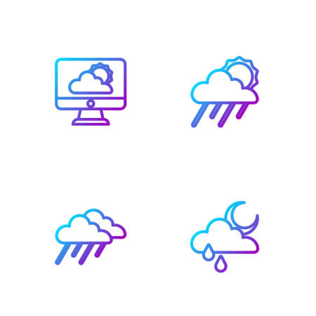 Set line Cloud with rain and moon, Weather forecast and sun. Gradient color icons. Vector 向量圖像
