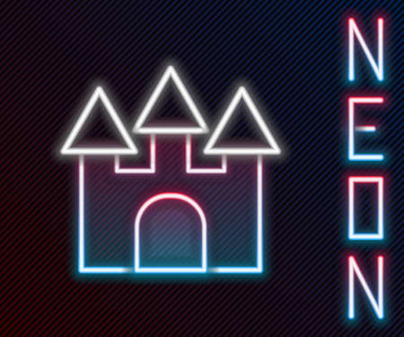 Glowing neon line Castle icon isolated on black background. Colorful outline concept. Vector