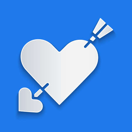 Paper cut Amour symbol with heart and arrow icon isolated on blue background. Love sign. Valentines symbol. Paper art style. Vector
