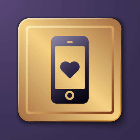 Purple Smartphone with heart emoji speech bubble get message on screen icon isolated on purple background. Valentines day. Gold square button. Vector Ilustração