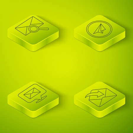 Set Isometric Paper plane, Speech bubble with envelope, Envelope and Envelope with magnifying glass icon. Vector