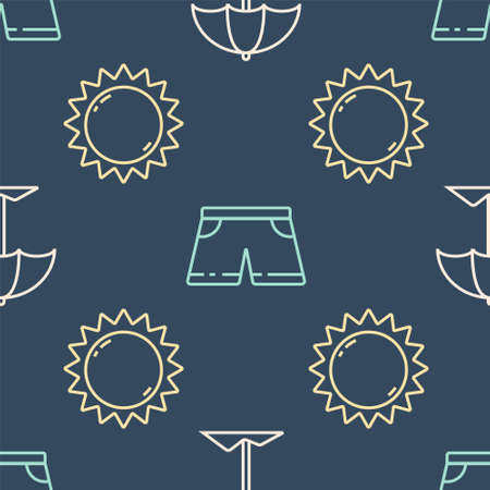 Set line Sun protective umbrella for beach, Sun and Swimming trunks on seamless pattern. Vector