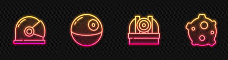 Set line Astronomical observatory, Astronaut helmet, Death star and Asteroid. Glowing neon icon. Vector