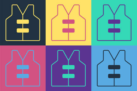 Pop art Life jacket icon isolated on color background. Life vest icon. Extreme sport. Sport equipment. Vector