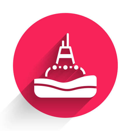 White Floating buoy on the sea icon isolated with long shadow. Red circle button. Vector